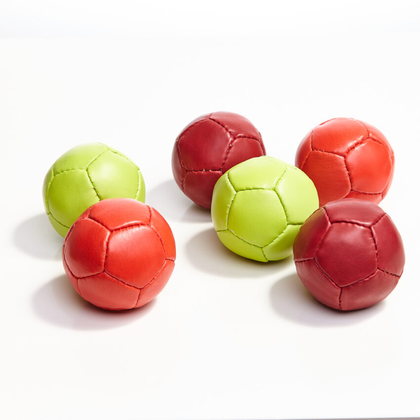 Small leather balls.