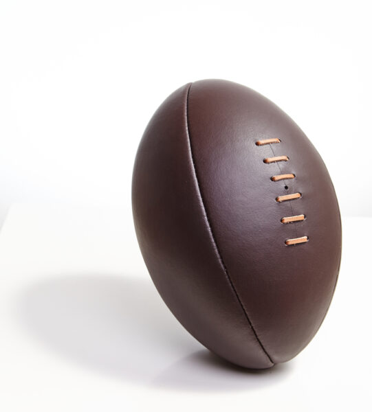 Leather rugby ball.